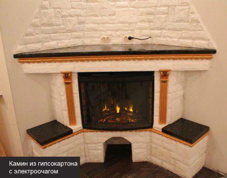 Декоративный угловой камин из гипсокартона своими руками | 352x450